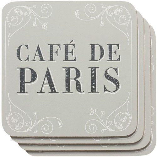 Café de Paris Cork Backed Coasters, Set of 4